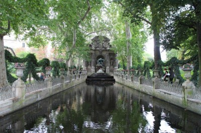 A water feature in the gardens