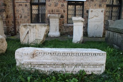 Some old grave stones at one of the churches