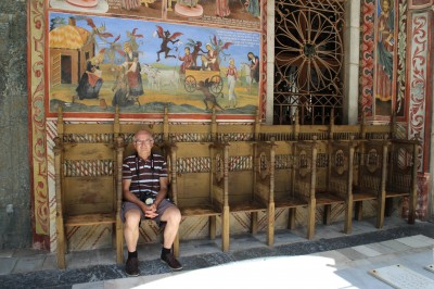And sitting on the monks chairs with beautiful mosaics behind