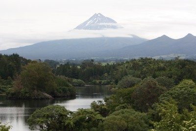 Lake Mangamahoe and Mount Taranaki