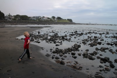 Playing at East End Beach and the rock pools at low tide.