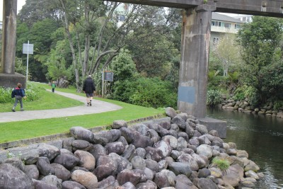 At East End you can veer off on the Te Henui walkway. You cross over the river and walk under the main road and further along behind houses and through parks to a total of 5.9 Kms.