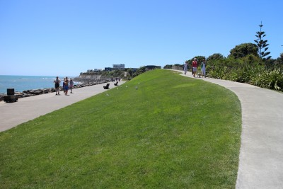 You can take the path up to a car park and town or carry on towards East End Beach.