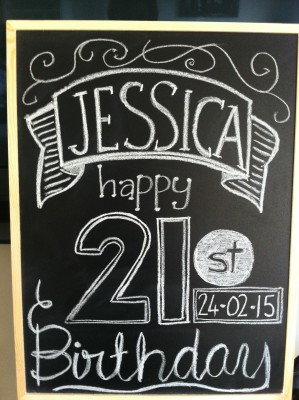 I also made a welcoming blackboard gto celebrate Jessica. I actually copied this from a board I found on Pinterest!