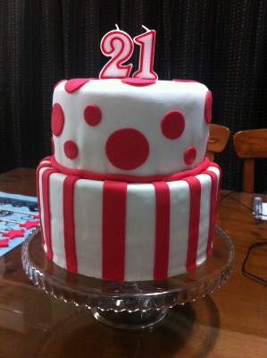I did exactly the same with the top of the cake only this cake was a vanilla cake. Separating some of the fondant, I coloured it with red food colouring. I then rolled the red out flat and cut circles and stripes and also stars for the lettering to go on.