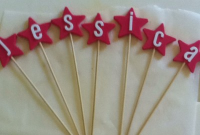 I let the stars harden overnight onto the skewers and then put the lettering onto them