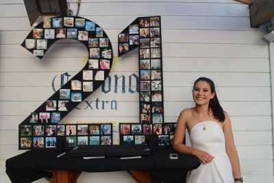 And here is my gorgeous girl with her '21' photo board <3