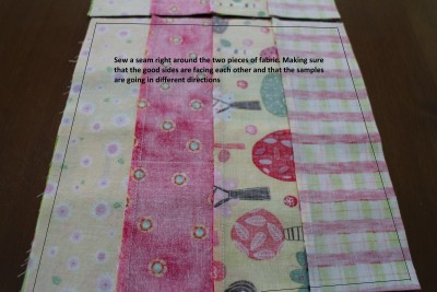 Put the two different ones together with the right sides facing each other and sew a quarter inch seam right around the outside of the square.