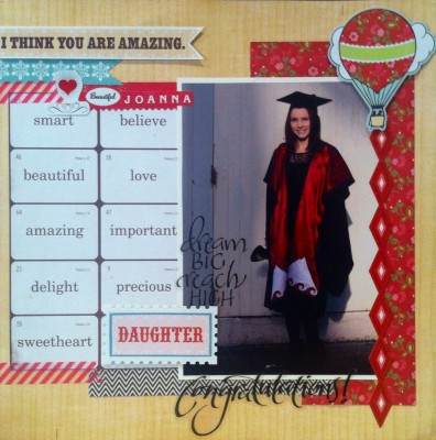 Beautiful eldest daughter Joanna at her graduation. Pages used are Echo Park, This and that.